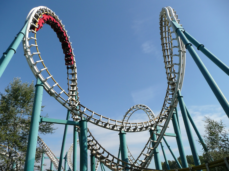 Los Angeles personal injury attorney - Rollercoaster in action in amusement park in summer