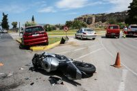 Traffic Accident Between A Car And A Motorcycle