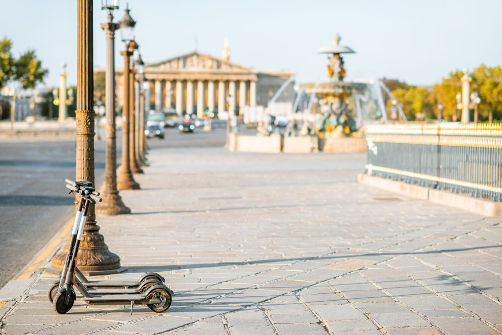 Electric Scooters On The Street Near Concordia Square During The
