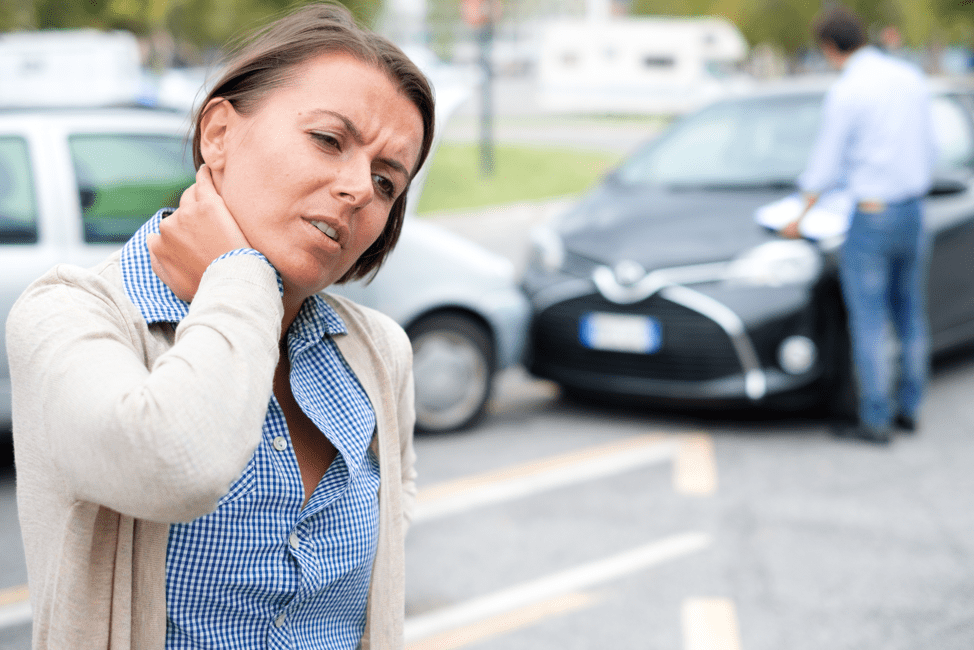 woman with neck pain after car accident