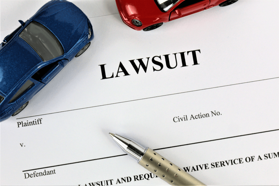 lawsuit form with toy cars