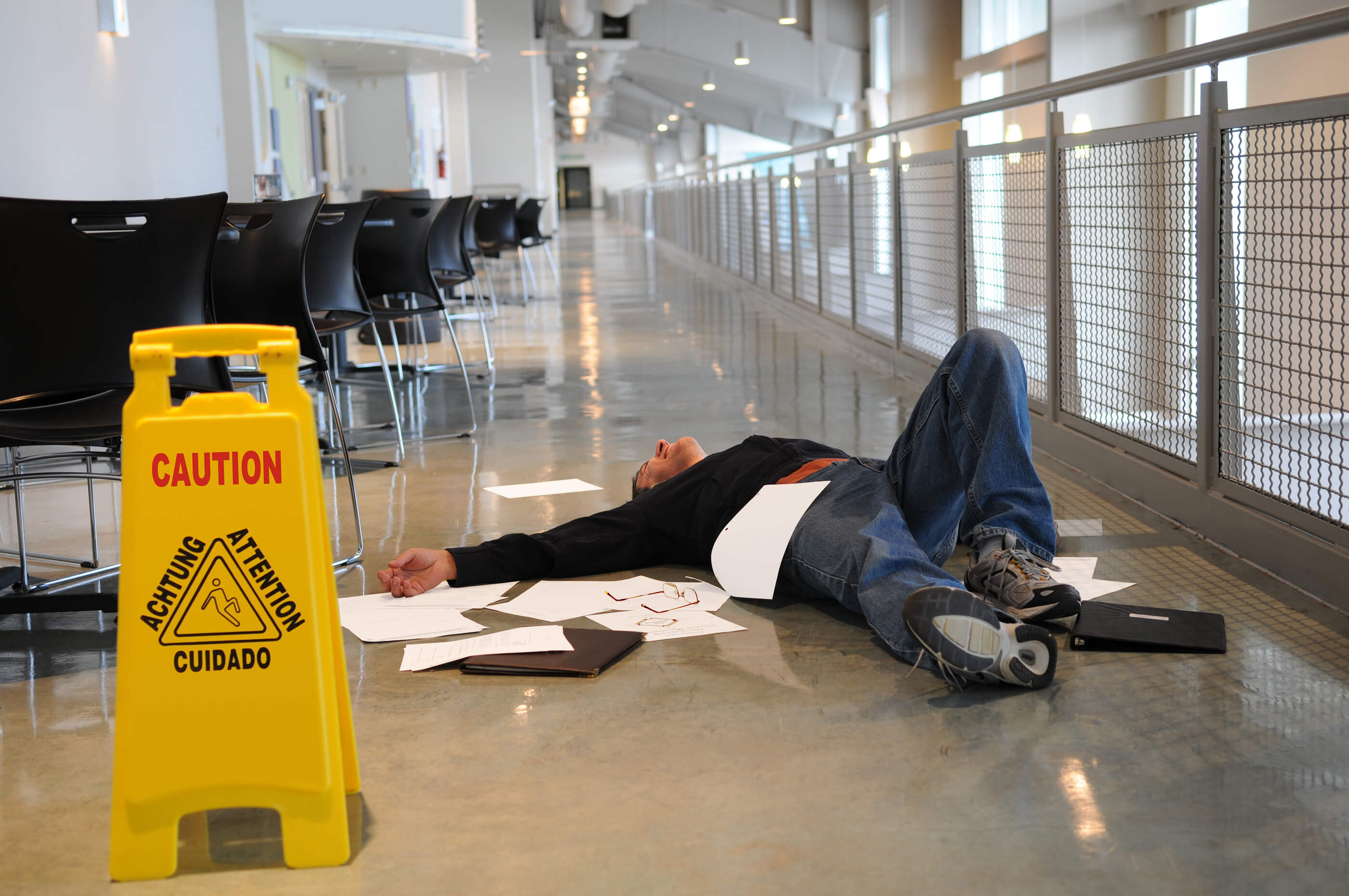 Man-Fallen-On-Wet-Floor-premises-liability