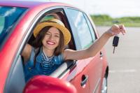 Woman-in-Rental-Car