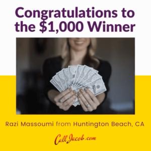 jacobs jackpot winner announcement-lady holding dollar bills