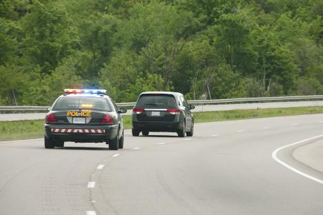 A cop in pursuit
