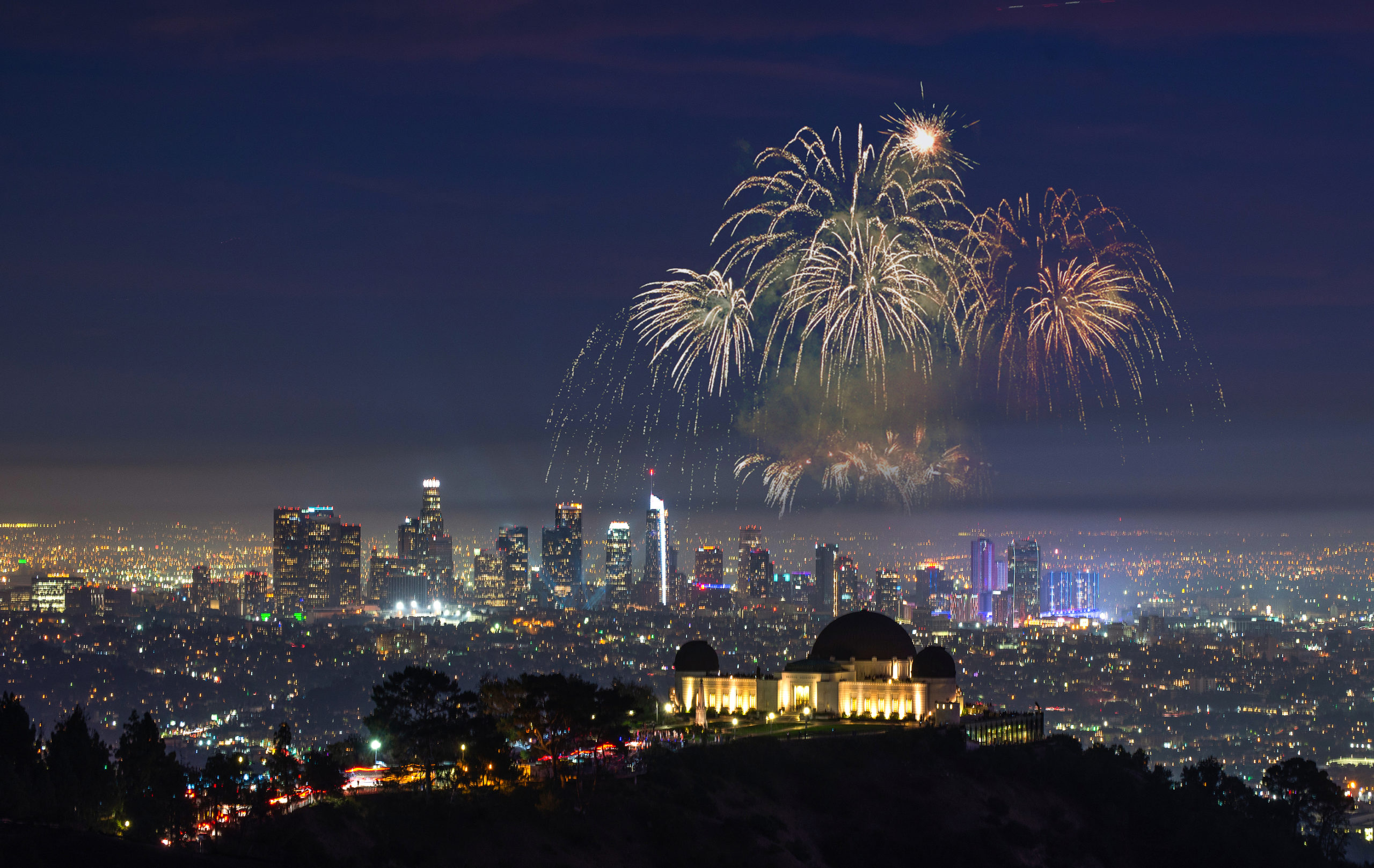 Fireworks-Above-Downtown-Los-Angeles-Cityscape