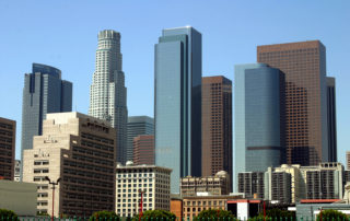 Los-Angeles-Architecture-Downtown-Skyscrapers-Blue-Sky